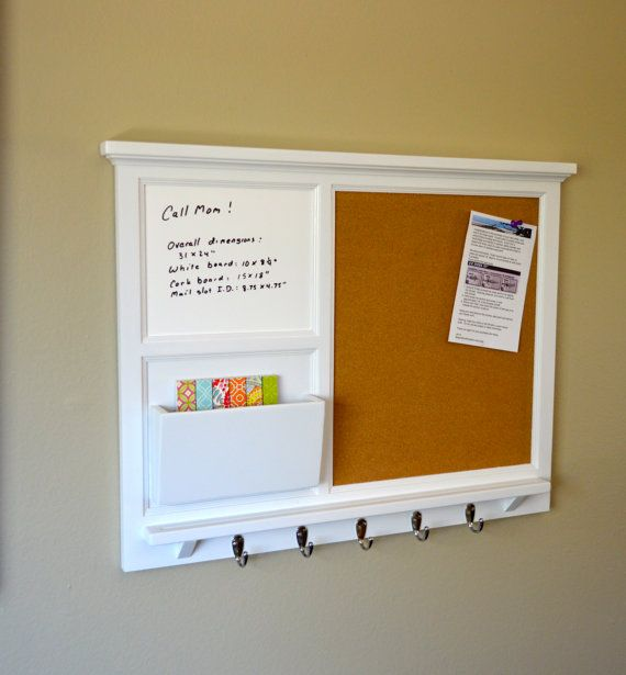 31 x 24 Wall organizer with larger mail cubby by BeachWoodKreations https://www.etsy.com/listing/231861651/31-x-24-large-cork-board-smaller-white?ref=shop_home_active_2