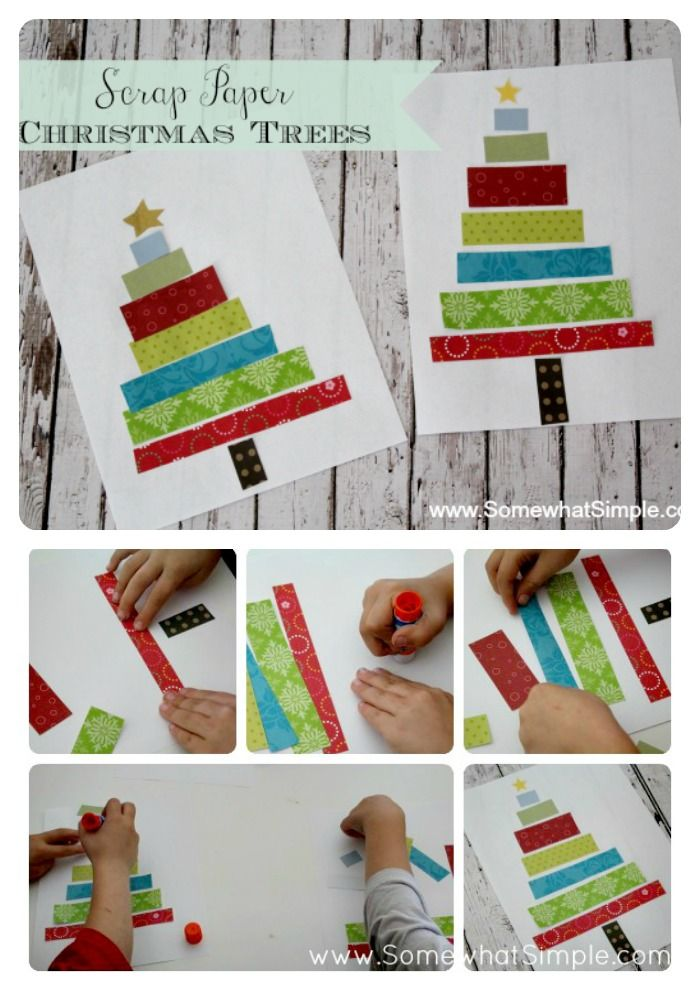 How cute is this scrap paper Christmas tree idea! Perfect craft for kids! Via SomewhatSimple