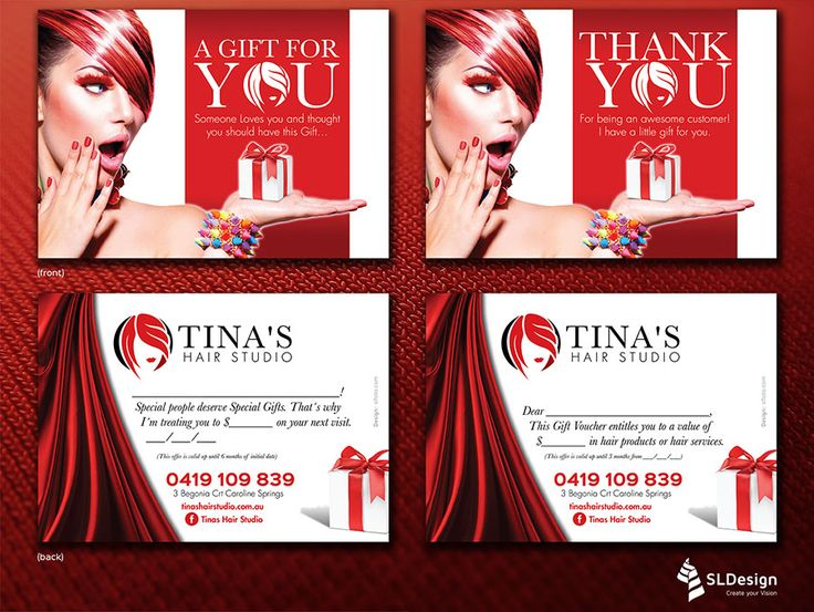 Vouchers for Tina´s Hair Studio - part of an identity + collateral redesign and production