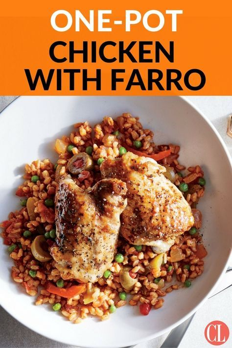 This easy dish is perfect for a casual get-together with friends. Inspired by arroz con pollo, it is hearty with satisfying complexity. Cumin, saffron, and oregano season rich chicken thighs and nutty farro as the dish simmers. If using saffron, deploy it sparingly; those tiny threads bring subtle flavor and a little color to the dish, but too much will yield a medicinal taste. Serve with a side salad to complete the meal. | Cooking Light