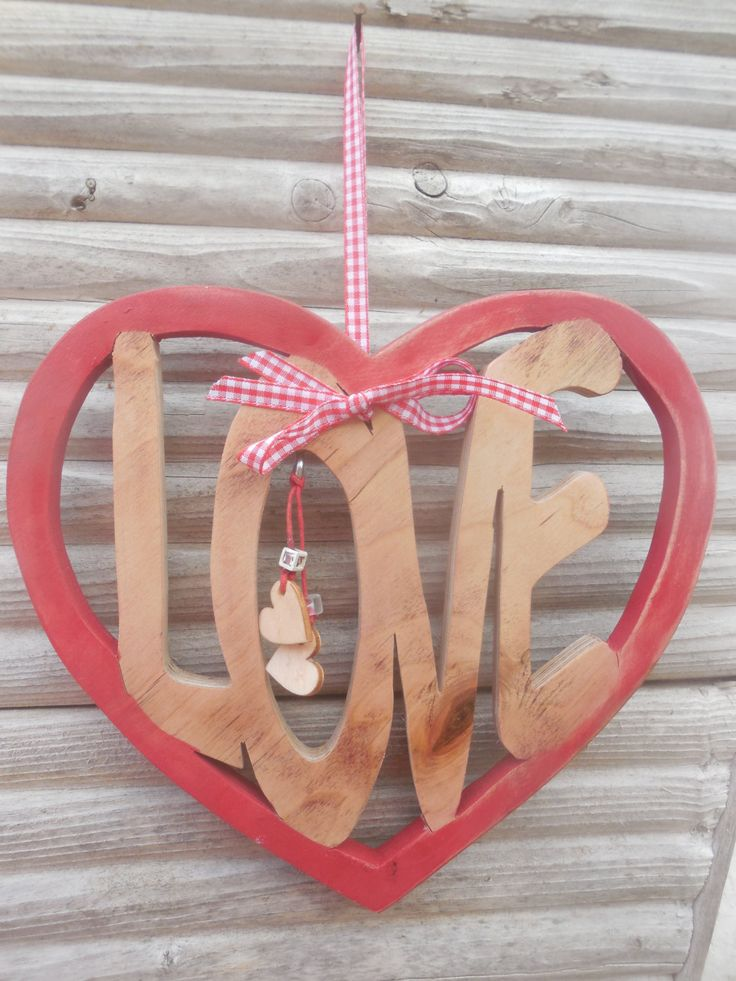 Large Wooden LOVE Heart with beads & mini hearts by DesertHeartsCo on Etsy