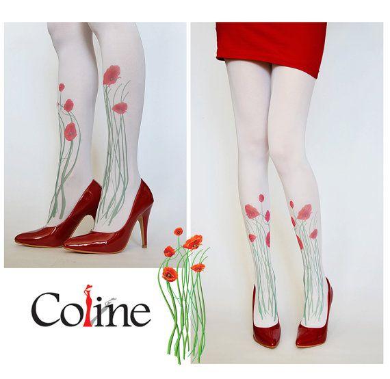 Rote Mohn auf weißen Strumpfhosen Blumen Leggings von colinedesign, $22.90