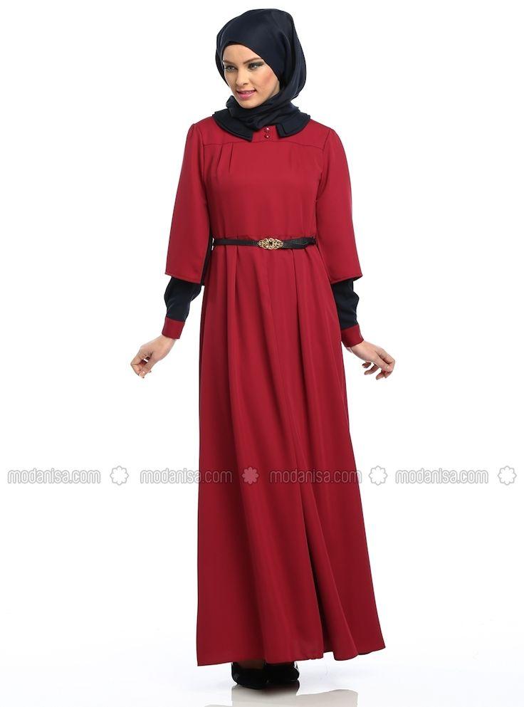 Double Collar Dress - Red - Zernisan