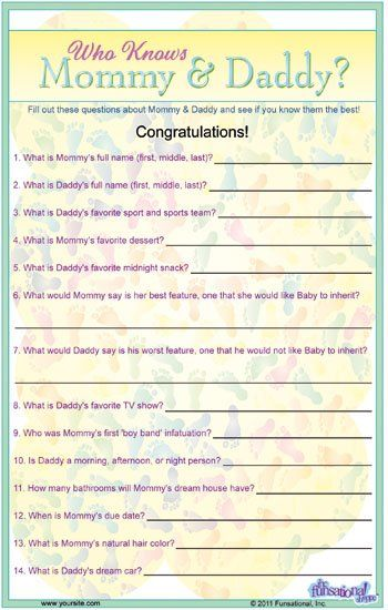 Baby Shower Trivia Game might need to do this lol I dont know if anyone would get it