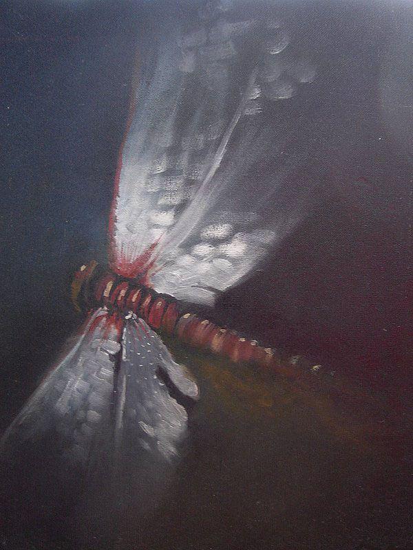 Rozpětí vážky olejomalba na sololitové desce, 70x58 cm obraz je zarámovaný v jednoduchém dřevěném rámu, jeho přírodní světlá barva příjemně kontrastuje s tmavším obrazem možmo ihned zavěsit