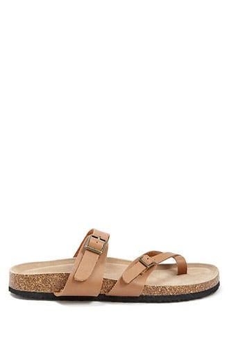 0d6d9c3f1eca6b Faux Leather Double Buckle Toe Sandals