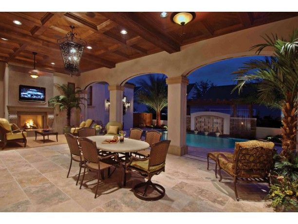 Interior Patio with pool, spanish style house