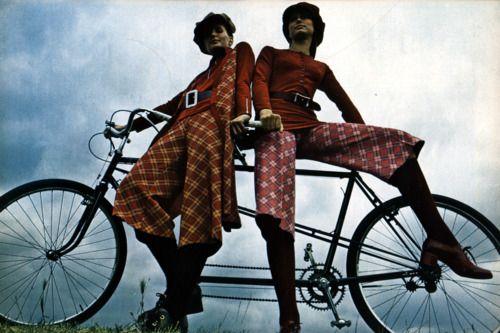 Models in knickerbockers for Honey magazine, October 1970. Photo by Morgan Rank.