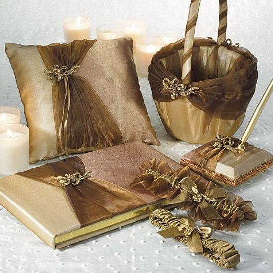 Bronze Elegance Wedding Accessories Set