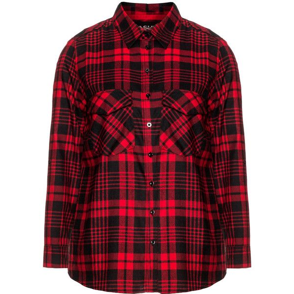 Frapp Red / Black Plus Size Cotton plaid shirt ($62) ❤ liked on Polyvore featuring tops, shirts, plus size, red, plaid shirt, red top, collared shirt, womens plus tops and black top