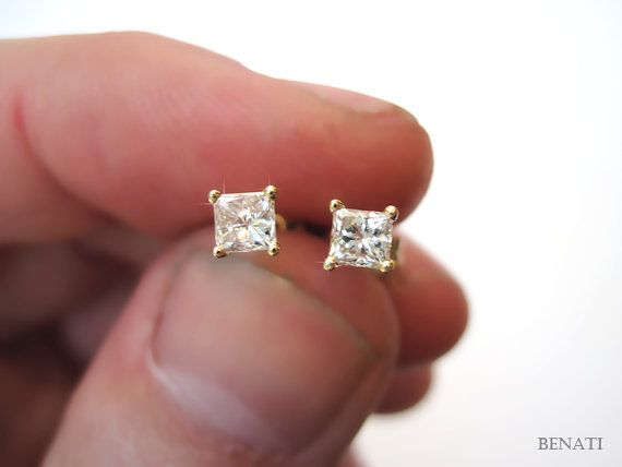 Princess Cut Diamond Stud Earrings - 0.70 carat total - VS clarity - F-G color - Square Diamond Studs - Diamond Earrings - New Stud Earrings on Etsy, $1,295.00