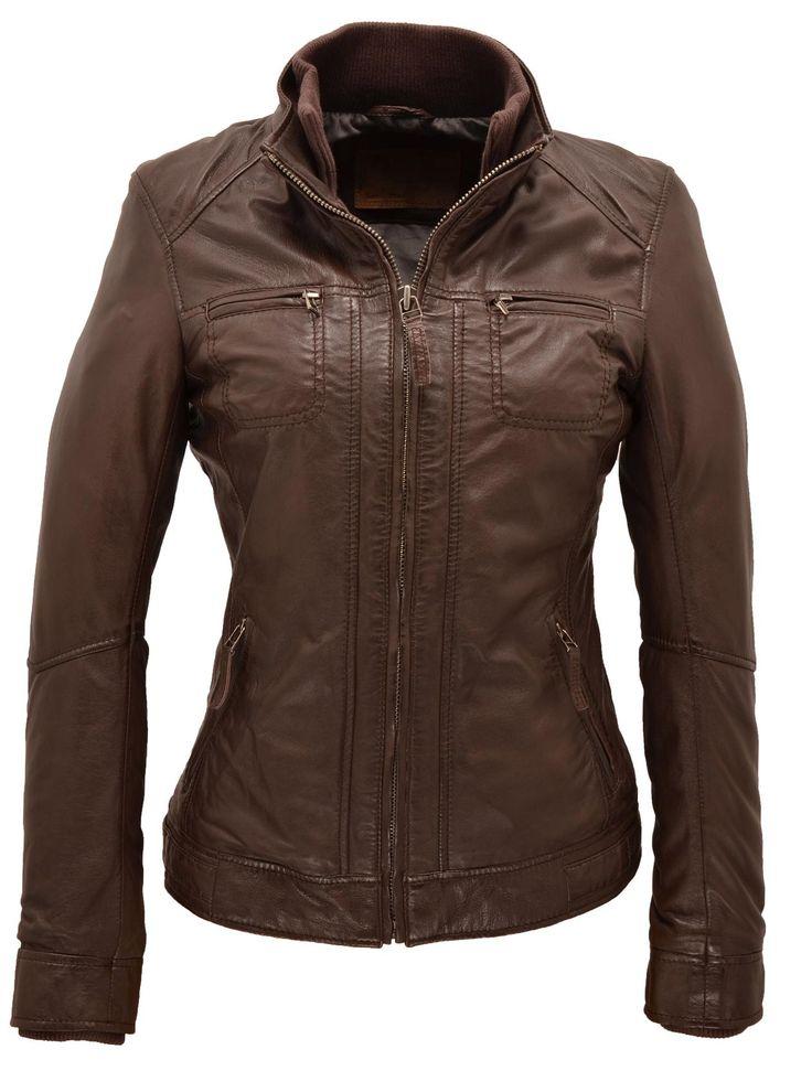 Blouson cuir col montant fermeture par zip poches zipp es poitrine poches biais zipp es - Cuire marron au four ...