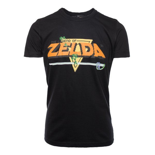 Go back to the where it all beganwith the Legend ofZelda Classic Retro Pixelated Logo T-Shirt. Harking back to the golden era of Zelda games, this t-shirt incorporates a vintage feel with the pixelated logo. Get your retro on! Material:100% cotton