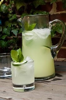 MINT GINNY  · 1.5 oz. Hendricks Gin  · 1.5 oz. lemonade  · Splash of Sprite  · Cucumber slice and sprig of mint for garnish    Mix well and serve over ice