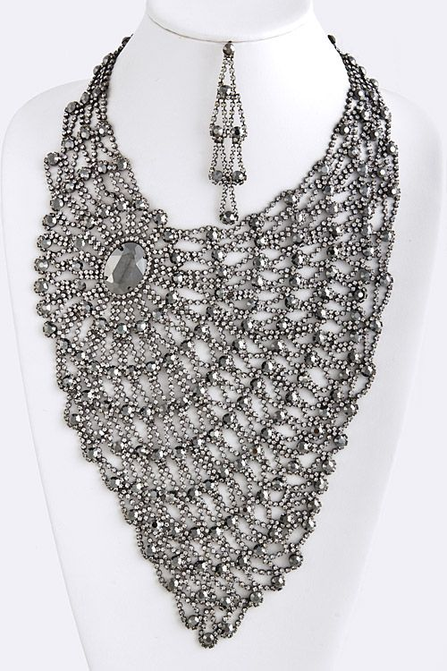 Black Diamond Crystal Lace Statement Necklace | Awesome Selection of Chic Fashion Jewelry | Emma Stine Limited