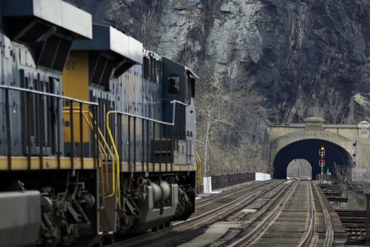 Coal train headed through the tunnel at Harpers Ferry, W V