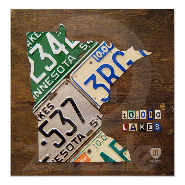 Minnesota map made from vintage license plates.
