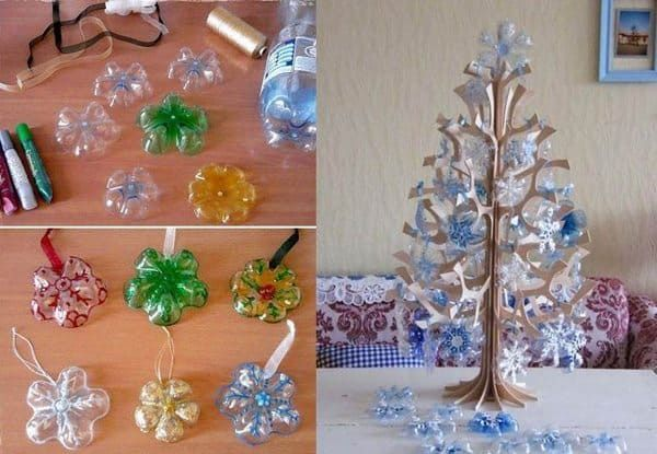 25 Christmas Decorations With Recycled Material Artsycraftsydad Diy Christmas Tree Ornaments Snowflake Ornaments Diy Plastic Bottle Crafts