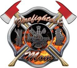 firefighter+mom+image | Firefighters Mom Inferno Maltese Cross Decal with Axes