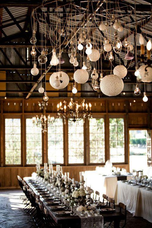 wedding decor: Hanging Lights, Idea, Wedding Receptions, Tables Sets, Lights Fixtures, Paper Lanterns, Bulbs, Barns Wedding, Long Tables