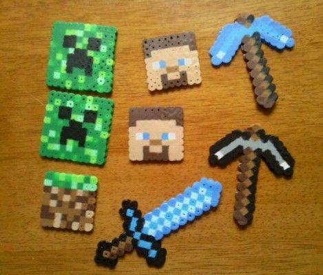 Minecraft Keyrings with Hama Beads