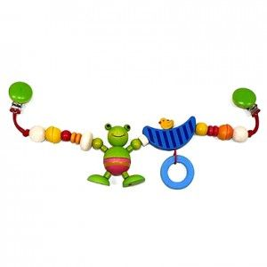 Hess 13021 - Drewniana Zawieszka do Wózka Żabka dla Niemowlaka. Koraliki oraz zielona żabka na elastycznej gumce - długość około 47 cm