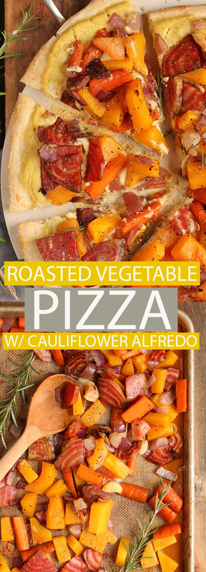 Vegan Fall Roasted Vegetable Pizza with Cauliflower Alfredo Sauce. Perfect for entertaining close friends