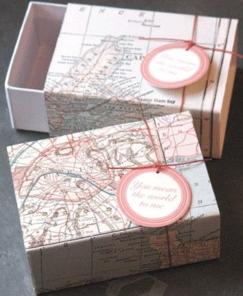 map gift boxes, you mean the world to me