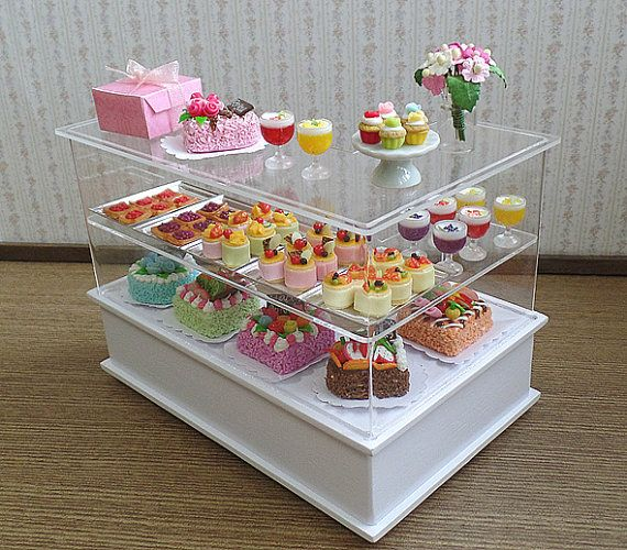 Maison de poupée Miniature boulangerie Set pâtisserie gâteau High Tea Party Patisserie Cafe Shop Display à 01:12 échelle & 1/10 scale (voir détails)