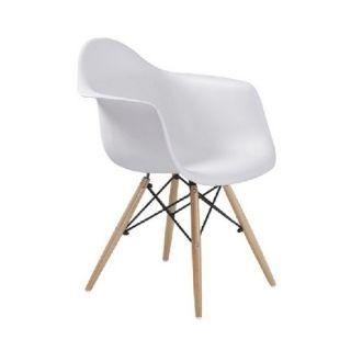 Stolička DAMEN, biela+buk