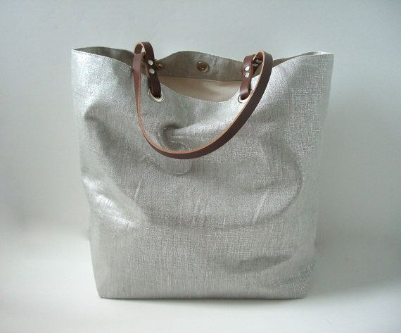 Metallic Silver Tote Bag Casual Tote Bag by IndependentReign