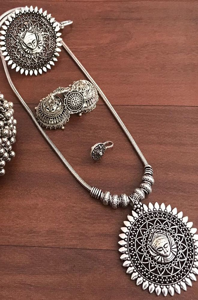 Traditional Jewels German Silver Oxodised Silver Metal Coin design Statement Pendant Necklace Jewellery Set For Girls And Women