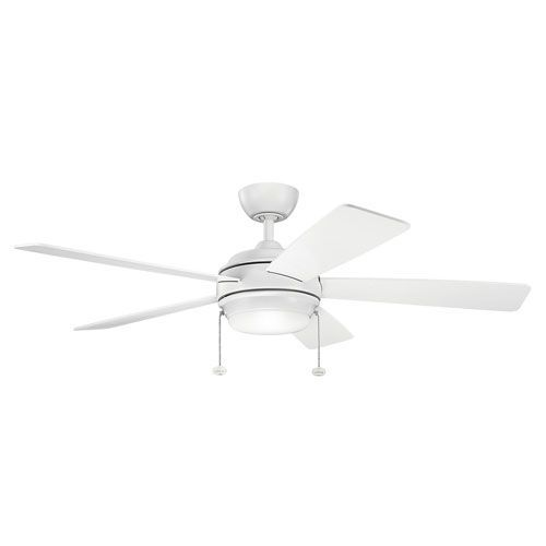Starkk Matte White Ceiling Fan with Light Kit