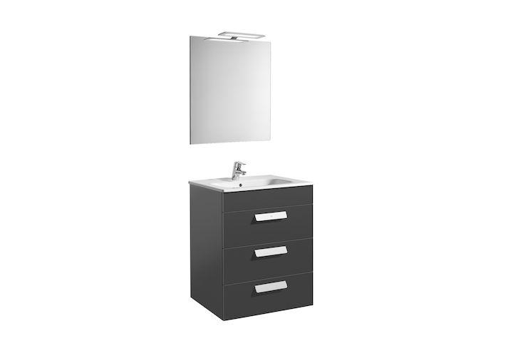 Pack (mueble base con tres cajones, lavabo, espejo y aplique LED) | Debba | Colecciones de baño | Colecciones | Roca