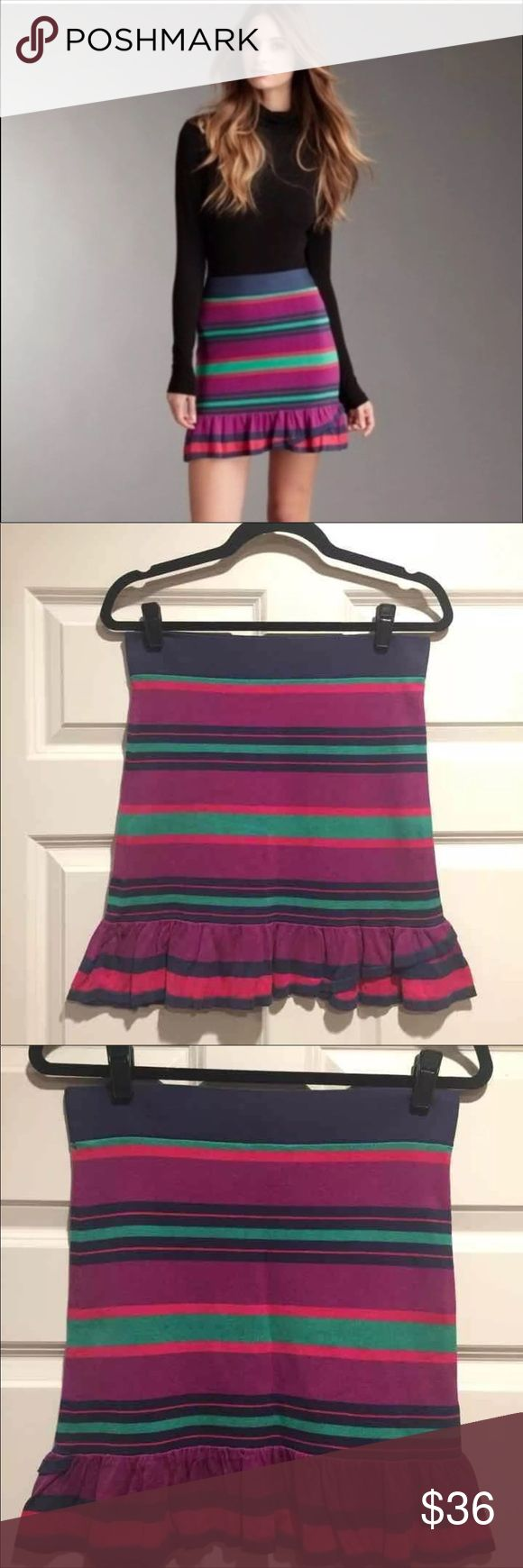 "BCBG Catarina Mini Skirt Size Medium M BCBG MAXAZRIA Catarina Ruffled Skirt Retail $138.00 Light magenta multi stripes (magenta, purple, blue green). Stretchy knit silk-cotton blend fabric. Straight; Ruffled asymmetric bottom hem. Waist is virtually solid (has little stretch). Mini. 50% silk, 40% cotton, 8% nylon, 2% spandex. Unlined. Hand wash cold (can be dry cleaned). EUC---one minor faint smudge on green stripe. Please see pics 2-4 WAIST (FLAT MEASUREMENT): 14.5"" HIP (FLAT MEASUREMENT)…"