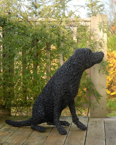 Black Lab. galvanised wire painted black. I love Labradors. My own black Lab 'Frodo' has modelled for numerous pieces over the past few years.