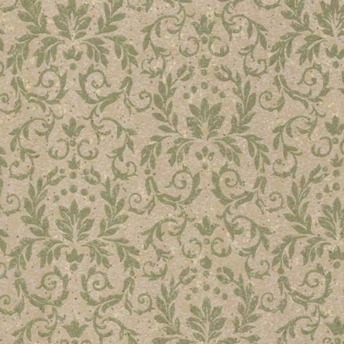 Damask Leaves Vintage Wallpaper Green | 1950s Vintage Antique Wallpaper