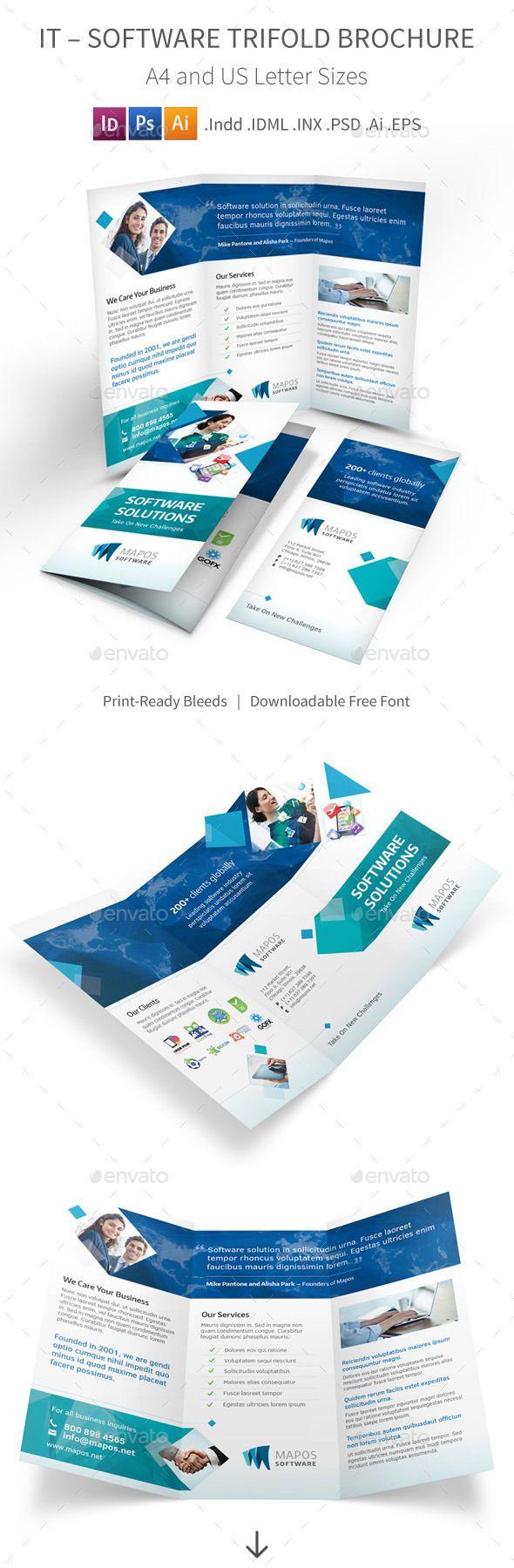 IT – Software Trifold Brochure #design Download: http://graphicriver.net/item/it-software-trifold-brochure/9989957?ref=ksioks