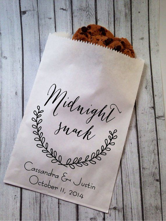 Wedding Candy Bags Buffet Favor Personalized Midnight Snack Treat Bag Customised 25 Count In 2018 Flowers Decor