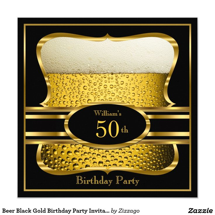 happy birthday invitation pictures%0A Beer Black Gold Birthday Party Invitation