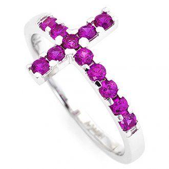 Ring AMEN rodinierten Silber 925 Kreuz mit violetten Zirkonen | Online Verfauf…