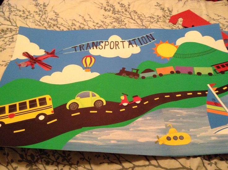 Pre-k transportation theme. Used for bulletin board.