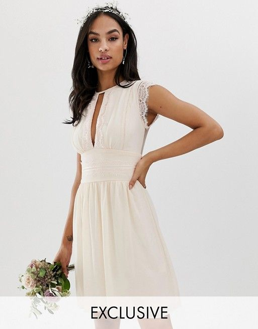 d9879f00bd2 TFNC lace detail mini bridesmaid dress in pearl pink in 2019 ...