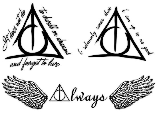 "Deathly Hallows Tattoos  ""It does not do to dwell on dreams and forget to live"" is my favorite Dumbledore quote.  That quote around a brush stroked deathly hallows symbol is perfection."
