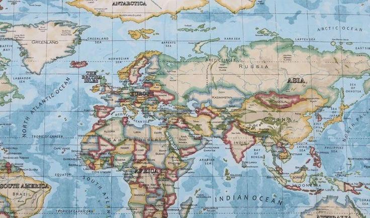 Wereldkaart stof verkrijgbaar bij stoffen-online.