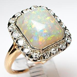Antique natural opal & single cut diamond cocktail ring