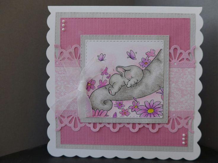 Wild Rose Studio baby girl card using Bella Sleeping stamp
