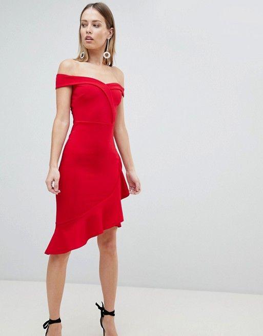 e52b7e37ae818b Lipsy Red Ruffle Bardot Bodycon Dress in 2019 | Fashion | Dresses ...