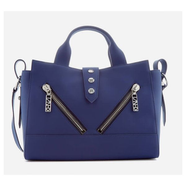 KENZO Women's Kalifornia Medium Tote Bag - Blue Marine (34,720 PHP) ❤ liked on Polyvore featuring bags, handbags, tote bags, blue tote, medium tote, medium tote bag, kenzo purse and blue handbags