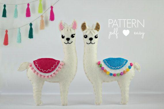 Felt Pattern Llama Sewing Pattern Felt Animal by MaisieMooNZ